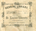 Herring Library Bookplate with Flower Border