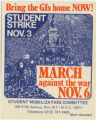 1960's - 1970's -- Bring The GIs Home Now -- Student Strike Nov. 3 -- March Against The War Nov. 6