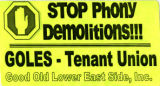 GOLES -- Stop Phony Demolitions!!! -- Tenant Union
