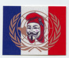 Anonymous -- Guy Fawkes Mask -- Flag Of France and United Nations Emblem