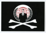 Anonymous -- Suit Without A Head -- Pirate Flag And United Nations Emblem