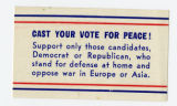 U.S. Isolationist -- Cast Your Vote For Peace! Support Only Those Candidates, Democrat Or Republican,